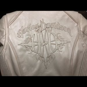 HARLEY DAVIDSON ivory embroidered leather jacket